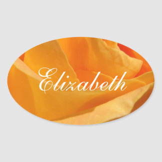Sticker Ovale Rose jaune personnalisé