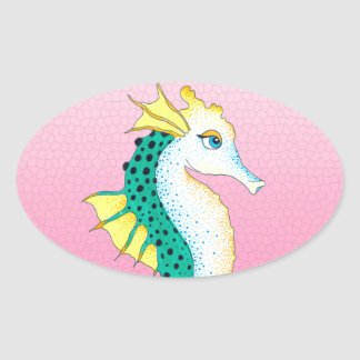 Sticker Ovale rose turquoise d'hippocampe