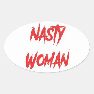 Sticker Ovale Rouge méchant de femme