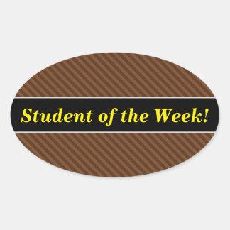 Sticker Ovale Rustique-Comme Brown foncé et rayures plus brun
