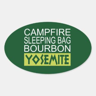 Sticker Ovale Sac de couchage de feu de camp Bourbon Yosemite