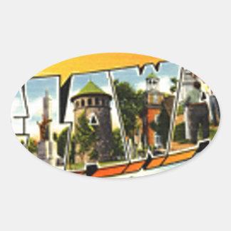 Sticker Ovale Salutations du Delaware