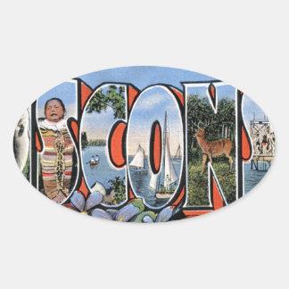 Sticker Ovale Salutations du Wisconsin