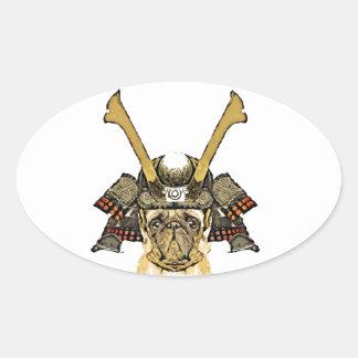 Sticker Ovale samurai_pug