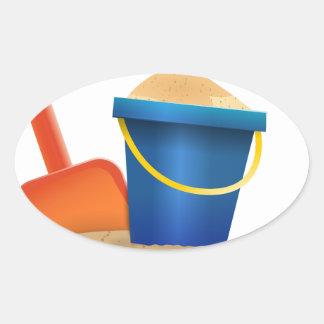 Sticker Ovale Seau de sable