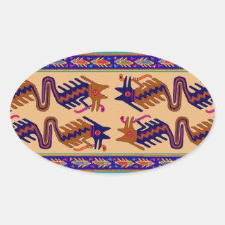 Sticker Ovale Serpent de tribal d'Inca