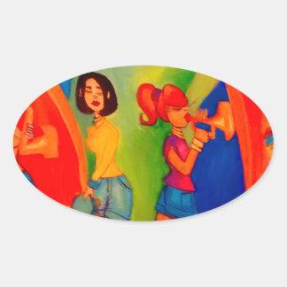 Sticker Ovale Session de confiture de bande de fille