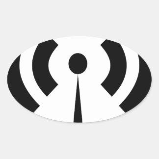 Sticker Ovale Signal de Wifi