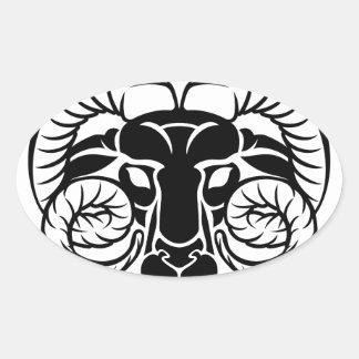 Sticker Ovale Signe de RAM d'astrologie de zodiaque de Bélier
