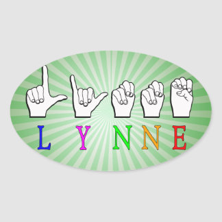 STICKER OVALE SIGNE NOMMÉ DE LYNNE FINGERSPELLED ASL SOURD