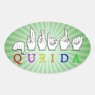 STICKER OVALE SIGNE NOMMÉ DE QURIDA FINGERSPELLED ASL