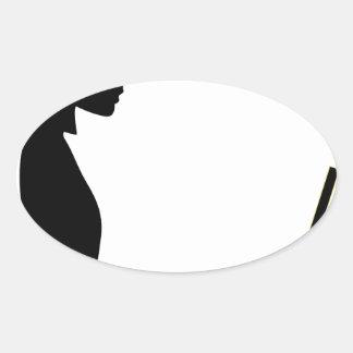 Sticker Ovale Silhouette femelle d'ordinateur