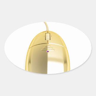 Sticker Ovale Souris d'or d'ordinateur