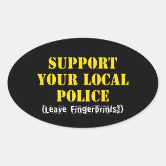 Sticker Ovale Soutenez votre police locale - laissez les