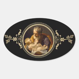Sticker Ovale St Joseph et bébé Jésus