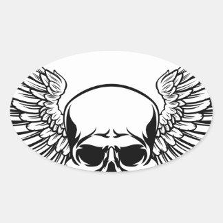 Sticker Ovale Style à ailes de gravure sur bois gravé par cru en