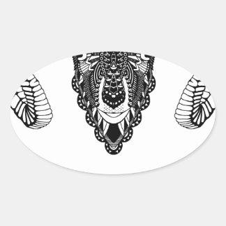 Sticker Ovale Style de mandala de dessin de RAM