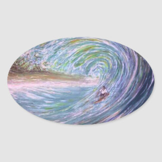 Sticker Ovale surfer de pourpre de vague de plage