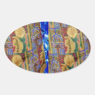 Sticker Ovale Symboles curatifs PURS de la couleur REIKI par