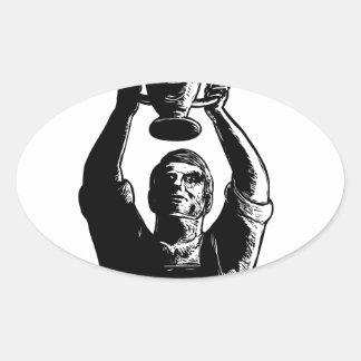 Sticker Ovale Tasse de levage Scratchboard de championnat de