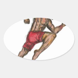 Sticker Ovale Tatouage thaïlandais de combattant de boxe de Muay