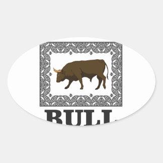 Sticker Ovale taureau brun encadré