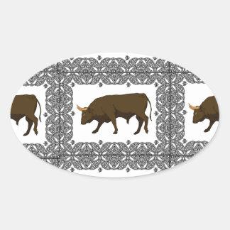 Sticker Ovale taureaux bruns jointifs