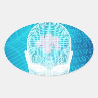 Sticker Ovale Technologie futuriste avec la puce d'esprit humain