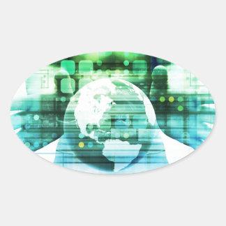 Sticker Ovale Technologie futuriste de la Science comme art de