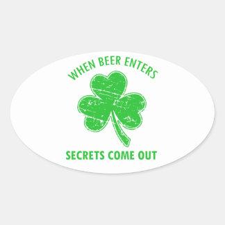 Sticker Ovale tee - shirt drôle de bière