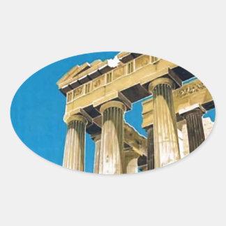 Sticker Ovale Temple vintage de parthenon d'Athènes Grèce de