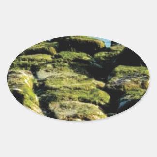 Sticker Ovale texture verte de bloc