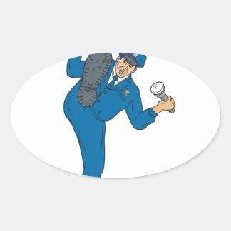 Sticker Ovale Torche de lampe-torche d'arme à feu de policier