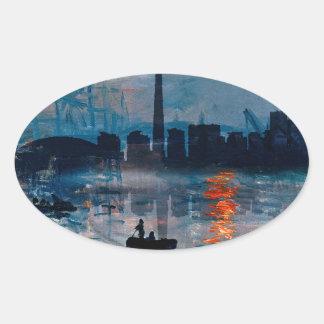 Sticker Ovale Toronto Skyline40