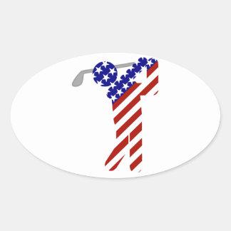 Sticker Ovale Tout le golfeur américain - le golf des hommes