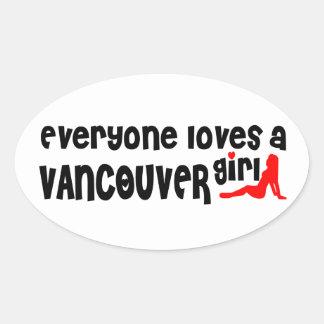 Sticker Ovale Tout le monde aime une fille de Vancouver