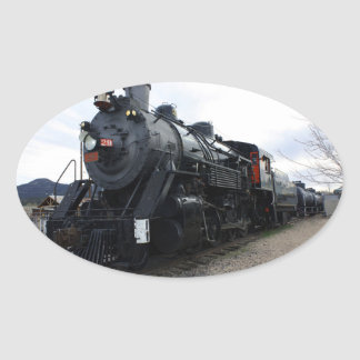 Sticker Ovale Train vintage de vapeur de chemin de fer