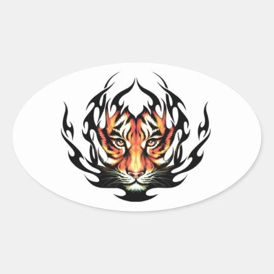 Sticker Ovale Tribal tiger