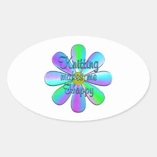 Sticker Ovale Tricotage heureux
