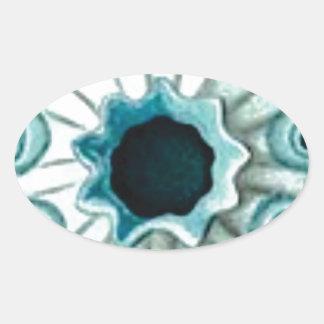 Sticker Ovale trou et yeux bleus