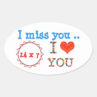 Sticker Ovale Tu me manque - un cadeau d'impact de l'expression