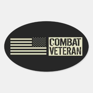 Sticker Ovale U.S. Militaires : Vétéran de combat (drapeau noir)