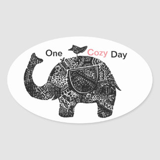 Sticker Ovale Un jour confortable heureux d'un éléphant et de