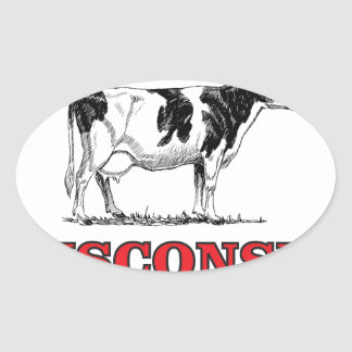 Sticker Ovale vache rouge au Wisconsin
