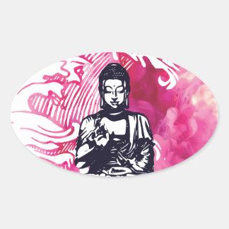 Sticker Ovale Vague de Bouddha d'ouragan