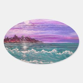 Sticker Ovale vague de plage