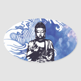 Sticker Ovale Vague d'eau profonde de Bouddha
