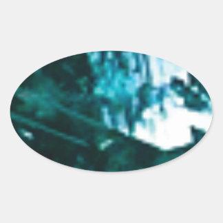 Sticker Ovale verre vert brisé