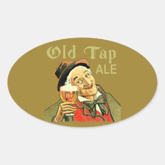 Sticker Ovale Vieille bière anglaise de robinet