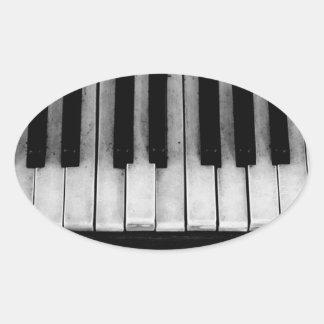 Sticker Ovale Vieille musique d'instrument de clavier de piano à